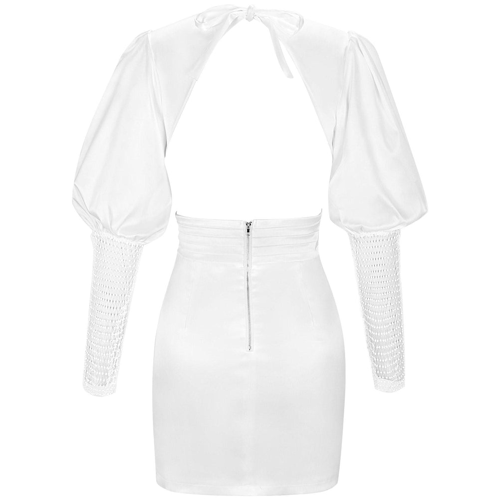 TIFFANY White Dress with Lantern Sleeves - Inamore