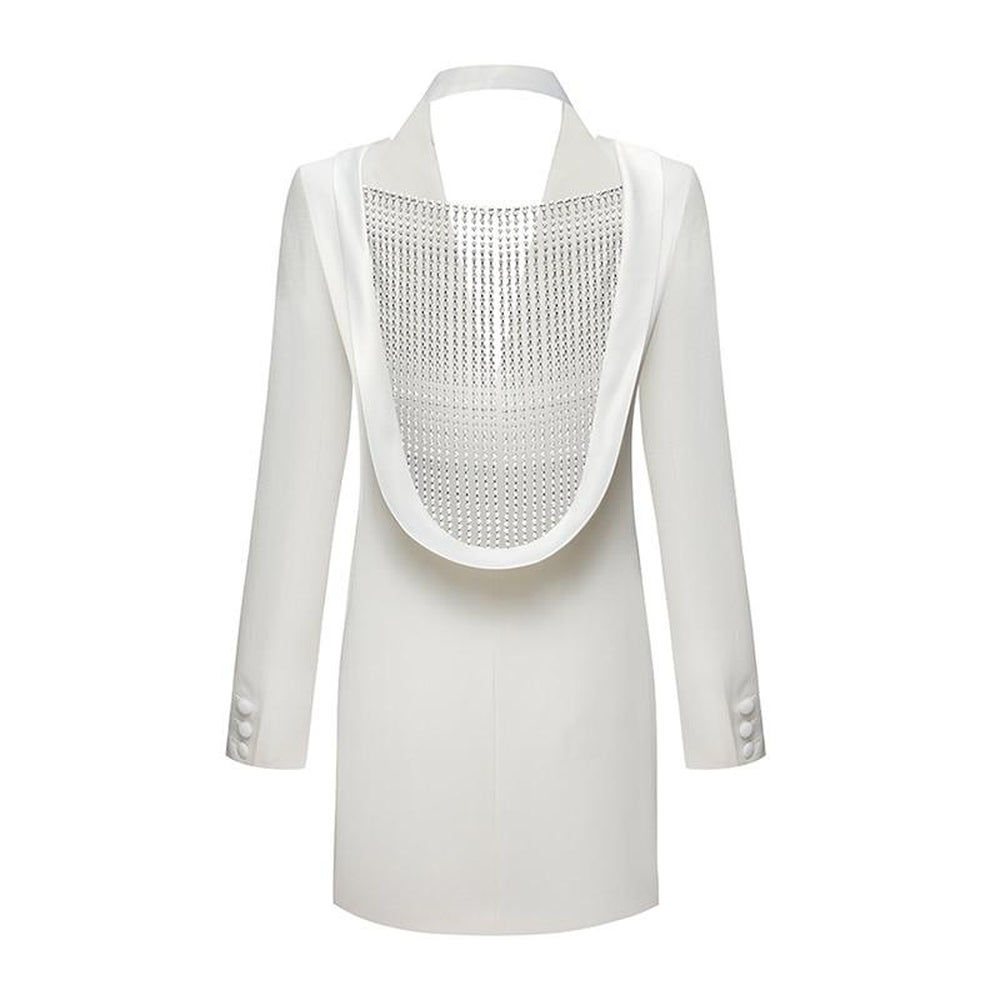 YSABEL Backless Diamond Fringe Blazer Dress - Inamore | What's Hot?