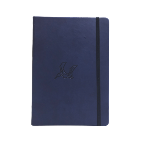 Navy Blue Pterosaur A5 Elastic Notebooks (Ruled)