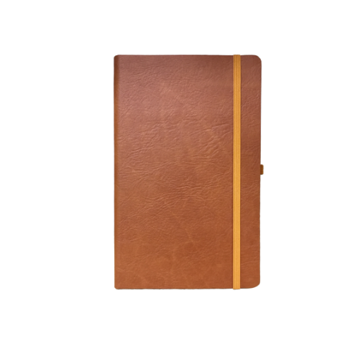 Compact Brown PVC Elastic Notebooks
