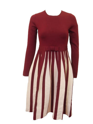 Slice Knit Pleated Contrast Dress