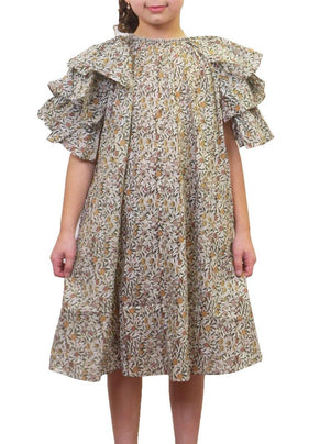 JNBY Print Ruffle Sleeves Dress