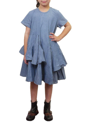 JNBY Asymmetrical Ruffle Short Sleeve Dress