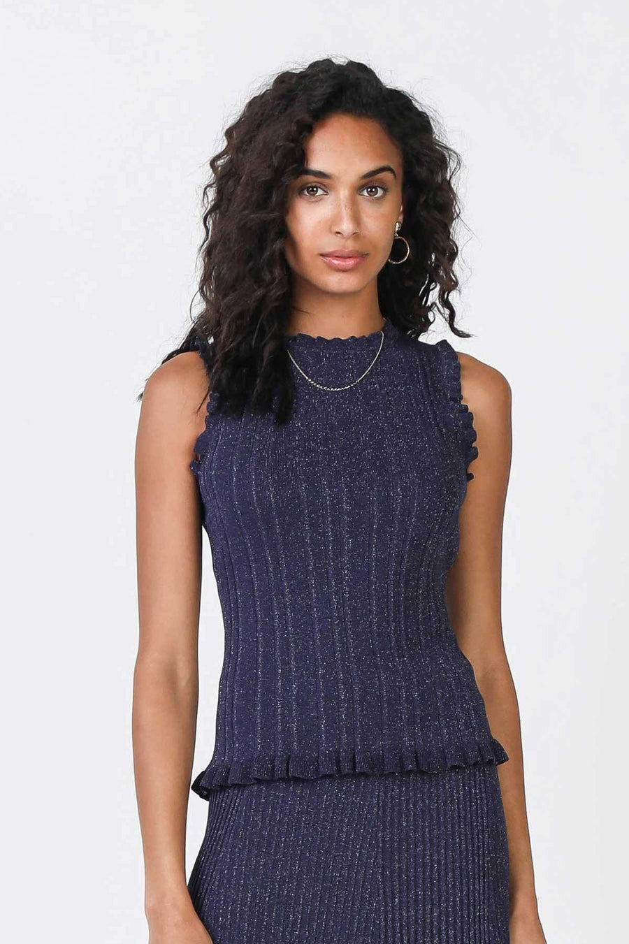 Current Air Sleeveless Lurex Sweater Front