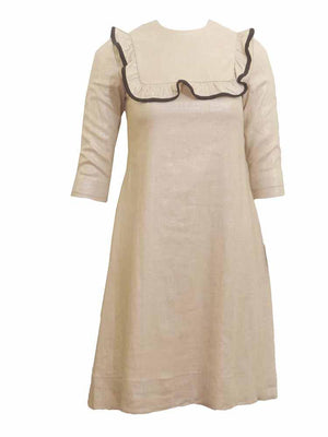 GIRL Ruffle Collar Linen Dress