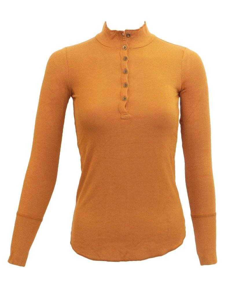Point Long Sleeve Cotton Ribbed Henley Top