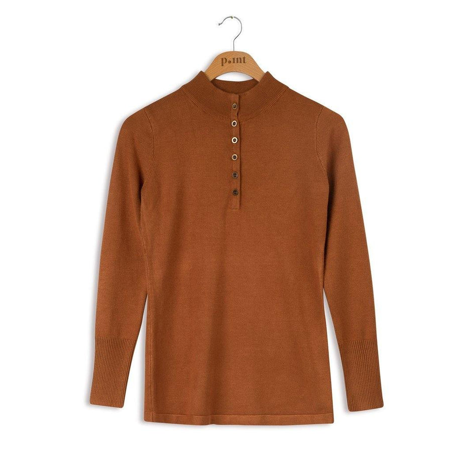 Point Knit Mock Henley Sweater Camel