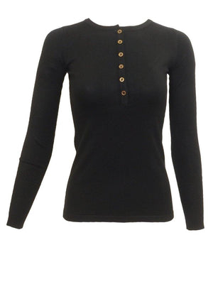 Point Long Sleeve Ribbed Henley Crew-Neck Top