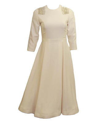 Prada Copy Cream Fit And Flair Dress By C&M Collection