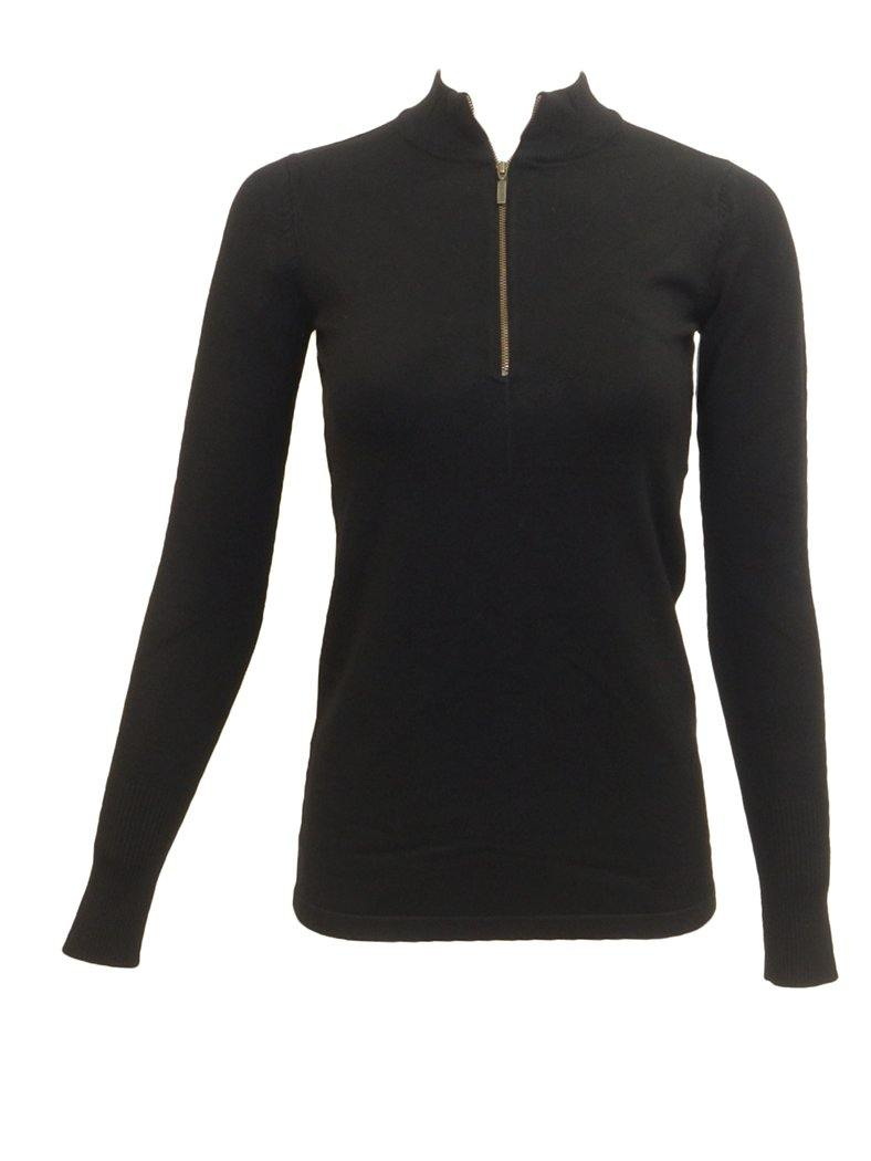 Point Ribbed Long Sleeve Three Quarter Zipper Black Henley Sweater