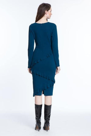 Tracy Reese Blue Frilled T-Dress