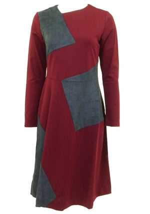 The Lines In Between Burgundy Suede Patch Dress