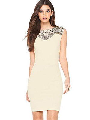 Little Mistress Cream Floral Lace Panel Bodycon Dress