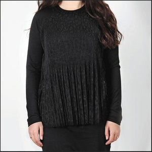 Euro Design Lace Pleat Front Top
