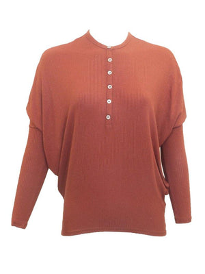 Riff Ribbed Henley Dolman Top