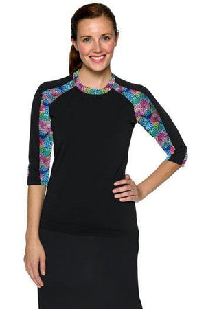 Hydrochic 3/4 Sleeve Black/Floral Accent Top