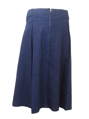 Freckle Juice Dark Denim Pleated Juniors Midi Skirt