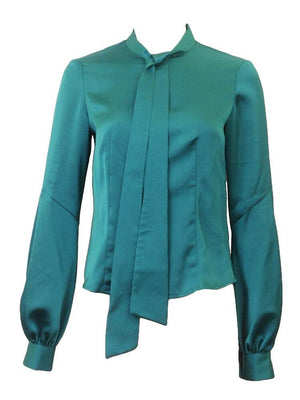 Sharrone Teal Satin Blouse