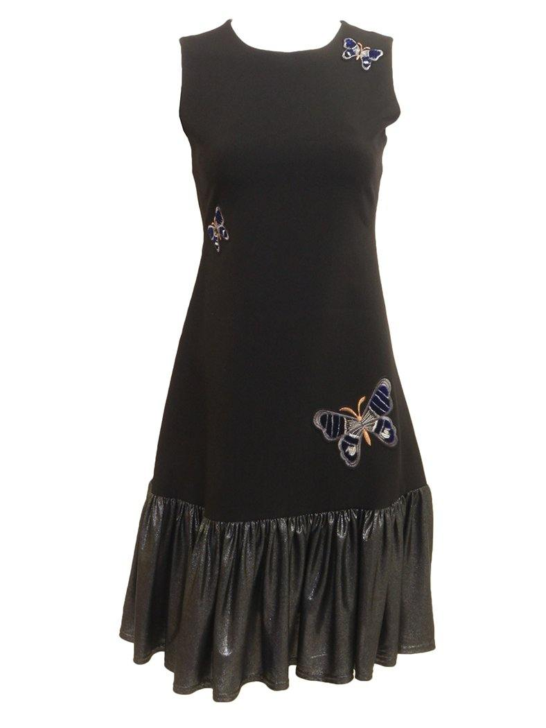Black sleeveless jumper dress with butterfly embroidered patches