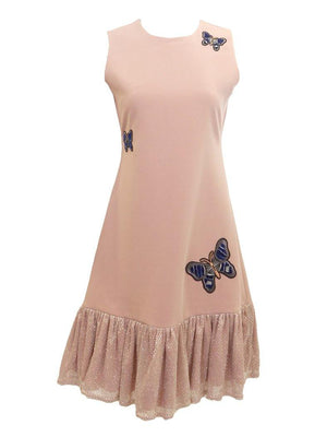 Peach jumper dress with butterfly embroidered patches