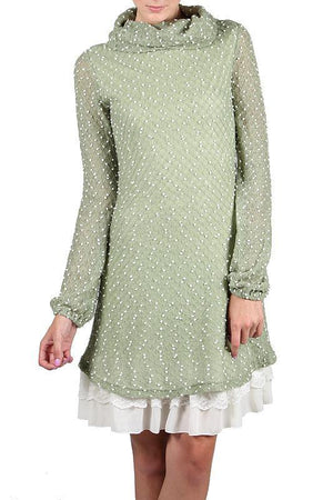 Areve Polka Dotted Long Sleeve Cowl Neck Dress