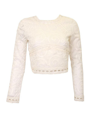 JOA Embroidered Ivory Crop Top