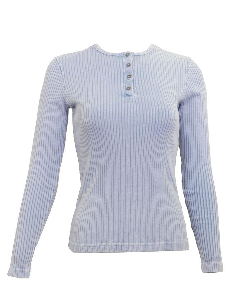 Hard Tail Wide Ribbed Long Sleeve Henley Shirt CMR-07