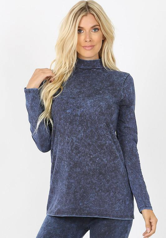 Zenana Mineral Wash Long Sleeve Top Sapphire