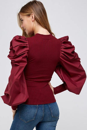 La' Ros Ribbed Bubble Sleeve Top Burgundy