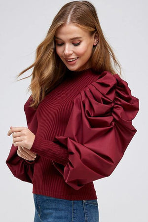 La' Ros Ribbed Bubble Sleeve Top Bergundy
