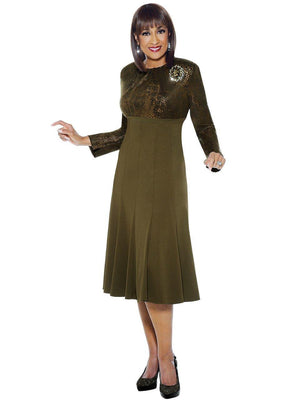 Dorinda Clark-Cole Olive Brooch Dress