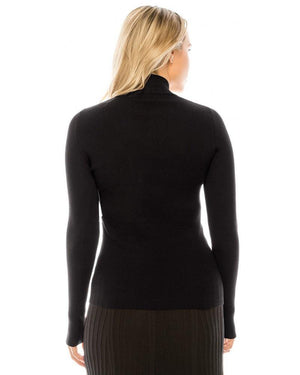Yal Ribbed Knit Mock Turtleneck