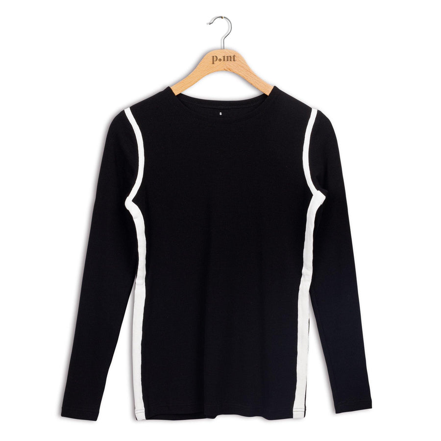 Point Ribbed Sport Crewneck Top
