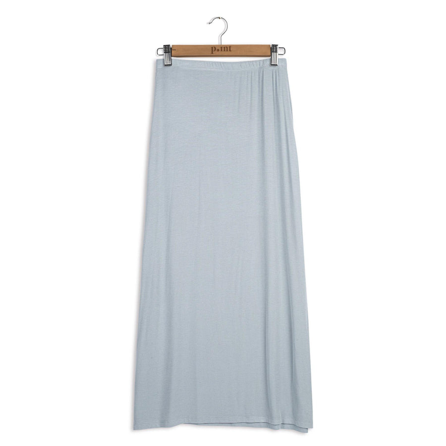 Point Ribbed A-line Maxi Skirt