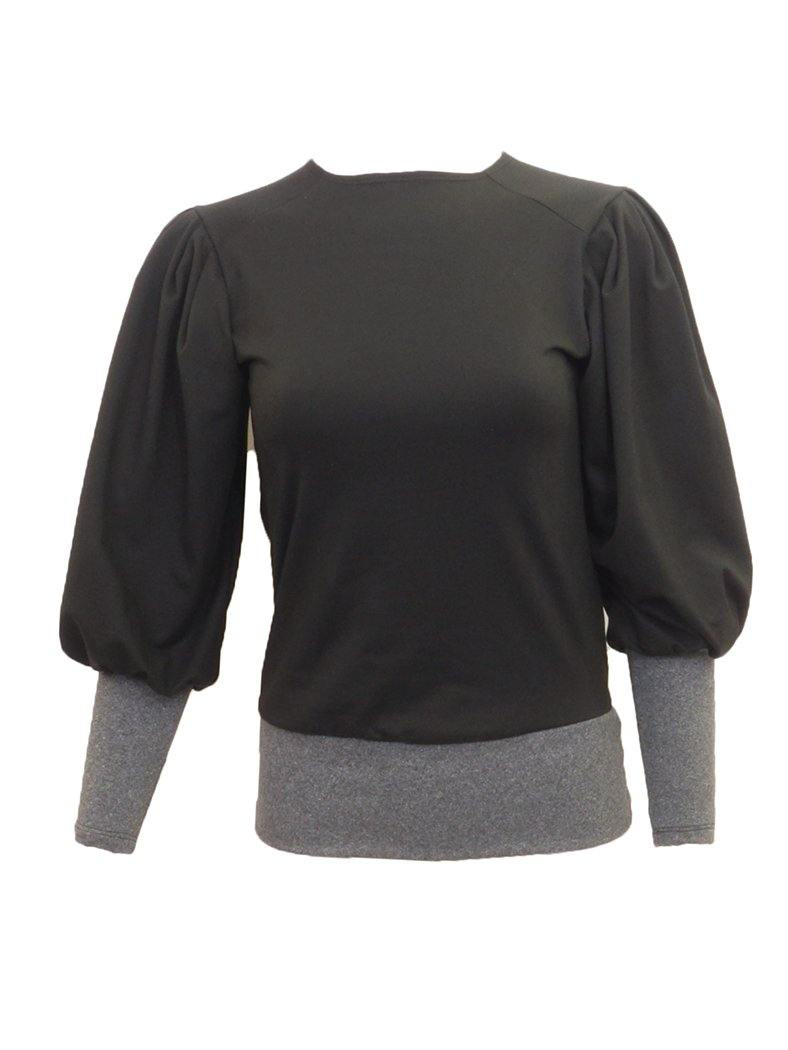 Pearlstone Bubble Sleeve Colorblock Top