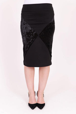 KMW Velvet Color Block Skirt