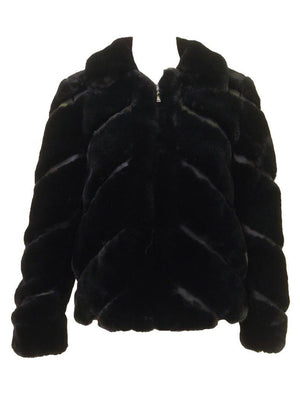 Love Token Faux Fur Collared Jacket Black Front