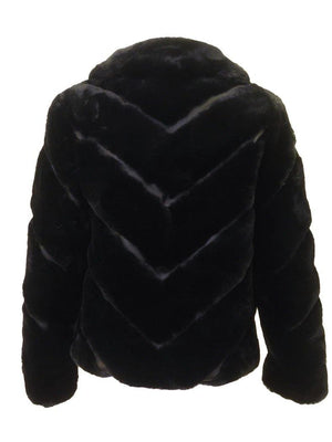 Love Token Faux Fur Collared Jacket Black Back