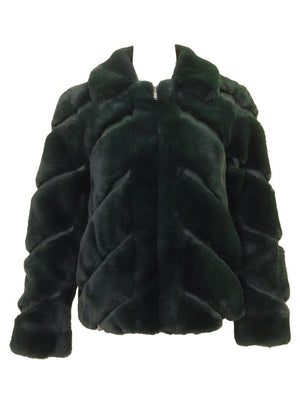 Love Token Faux Fur Collared Jacket Emerald Front