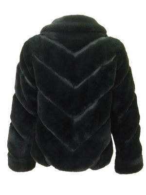 Love Token Faux Fur Collared Jacket Emerald Back