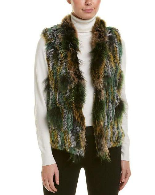 Love Token Green Fur Vest Front