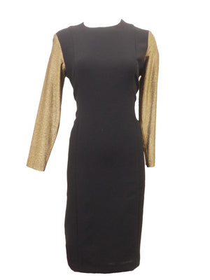 Sharrone Black Dress With Gold Shimmer Sleeves