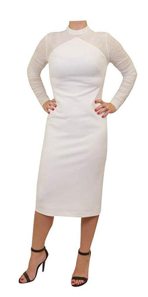 Mikael Aghal Mesh Sleeved Sheath Dress