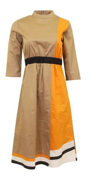 Maple & Cliff Color Block A-Line Dress