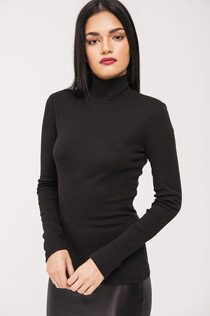 Kiki Riki Ribbed Mock Neck Long Sleeve Top