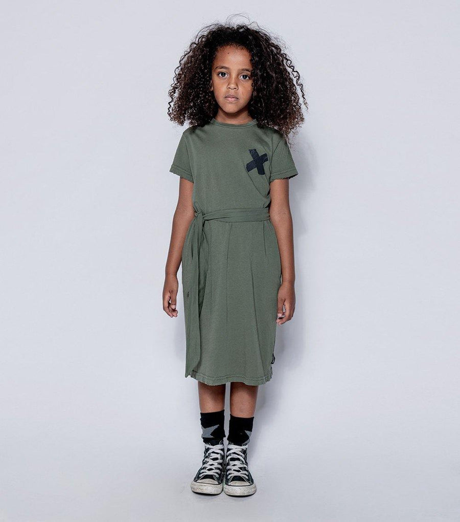 NUNUNU Belted T-shirt Dress