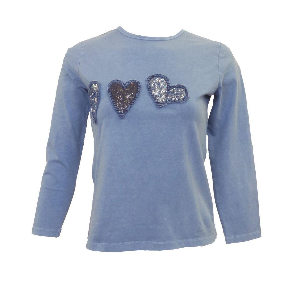 Love and Laughter Denim Hearts T-Shirt