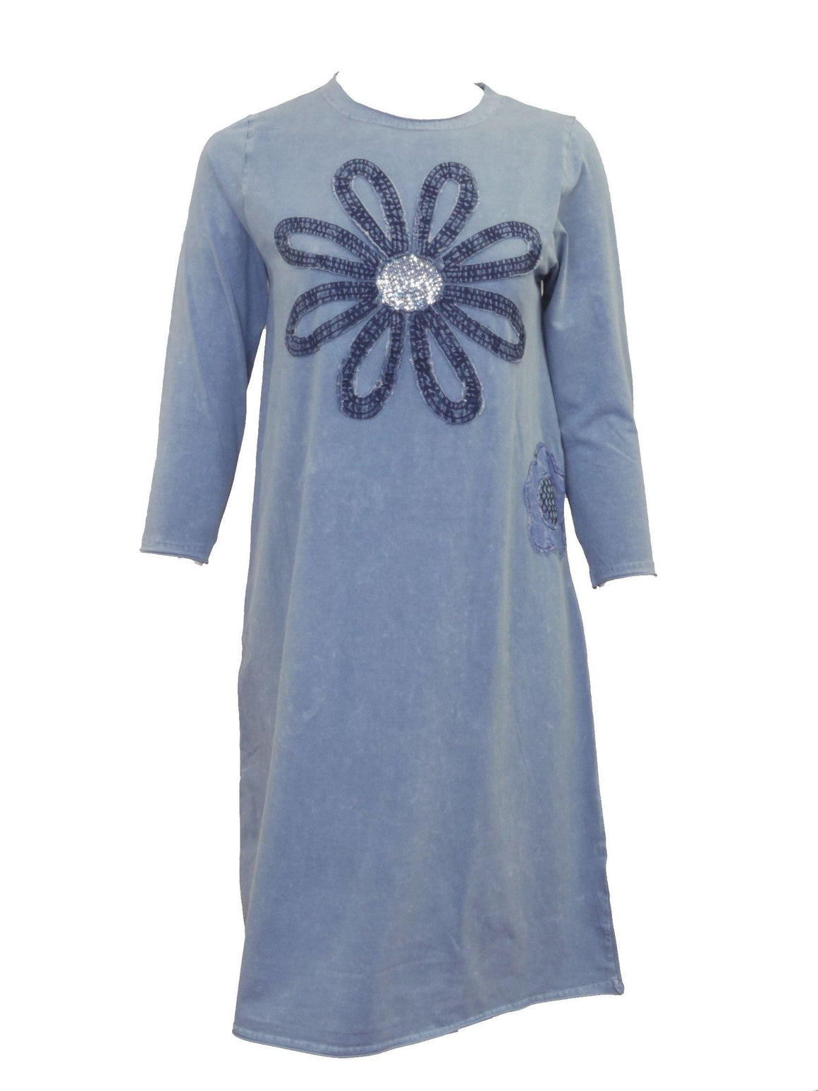 Love and Laughter Denim Washed Flower Dress