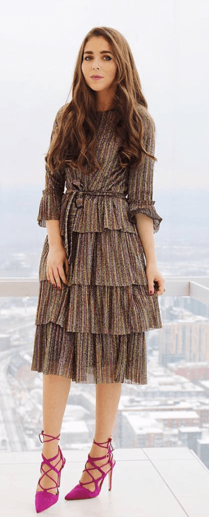 Daniella Faye Layered Multi Colored Dress