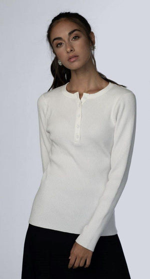 MELI Ribbed Henley Sweater